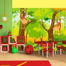 chambre jungle enfant papier peint pour chambre d enfant jungle et singes tendencio