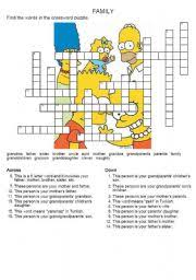english teaching worksheets family crosswords