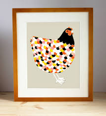 Chicken Home Decor by Barnyard Chicken Art Print Chicken Illustration Farm Animal