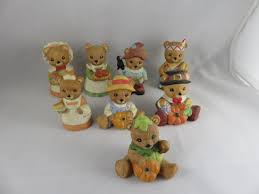home interiors bears homco figurines lot of 8 fall thanksgiving
