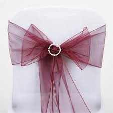 Purple Chair Sashes 5 Pcs Wholesale Burgundy Sheer Organza Chair Sashes Tie Bows