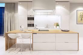 eclairage bar cuisine design interieur cuisine bois et blanc chaises bar blanches