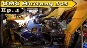 omc mustang 345 skid steer engine installation youtube