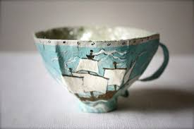 Handmade Tea Cups - paper mache teacup pattern wood handmade