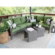 canton 6 piece wicker outdoor sectional set with green cushions