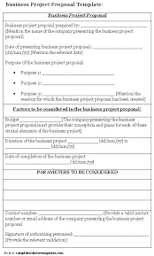 business project proposal template sample business templates