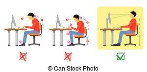 posture bureau plat droit bureau séance dos posture mal vecteur clipart