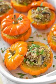 savory and quinoa stuffed mini pumpkins simple seasonal