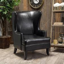 Reclining Leather Armchair Furniture Leather Wingback Recliner For Comfortable Armchair