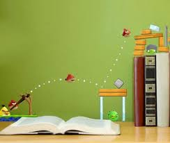 green angry birds wall murals design ideas for kids bedroom in