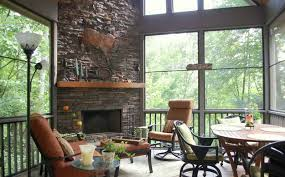 ideas screened in porch ideas with fireplace and dining room