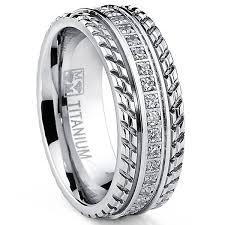 comfort fit ring oliveti men s grooved titanium cubic zirconia comfort fit ring
