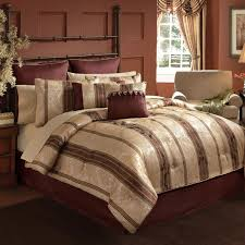 country red and grey striped cal king comforter set with rustic