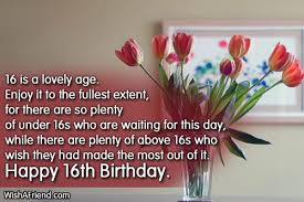 16th birthday wishes