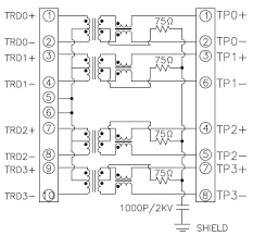 1x4 rj45 connector jack 10 100 1000 baset gigabit with