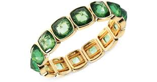 anne klein bracelet images Lyst anne klein goldtone green stone bangle bracelet in green jpeg