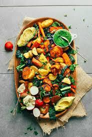 roasted vegetable salad with chimichurri minimalist baker recipes
