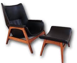 mid century modern dux style solid walnut black lounge chair