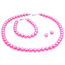 necklace pearl pink images Pink pearl wedding jewelry set necklace earrings bracelet set jpg