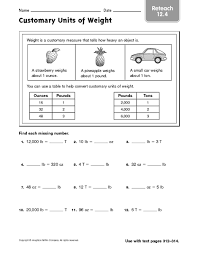 customary units of measurement worksheets worksheets