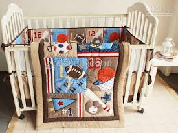 Sports Baby Crib Bedding New 7pcs Embroidered Baseball Sports Pattern Boby Baby Cot Crib