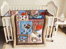 Baby Boy Sports Crib Bedding Sets New 7pcs Embroidered Baseball Sports Pattern Boby Baby Cot Crib