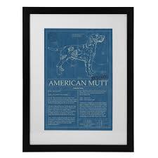 cat blueprints framed wall art breeds uncommongoods mutt blueprint