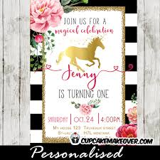 unicorn birthday invitations gold foil pink flowers black white