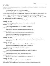 divisibility rules 6th grade worksheet lesson planet