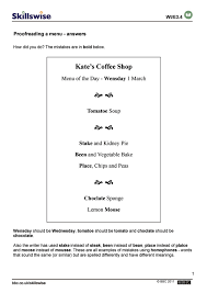 Editing And Proofreading Worksheets Proofreading A Menu