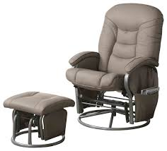 Glider Recliner With Ottoman Casual Leatherette Glider Recliner With Matching Ottoman Set