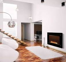 modern black wall mounted fireplace electric in white walls