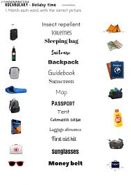 travel items images Vocabulary travel items interactive worksheet jpg