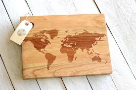 world map cutting board rustic modern wooden design zoom