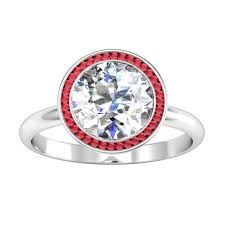 bezel ring bezel set ruby halo engagement ring