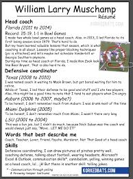 Football Coach Resume Example by Will Muschamp U0027s Résumé Korked Bats