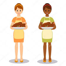 woman with roasted turkey u2014 stock vector romalka 117698962