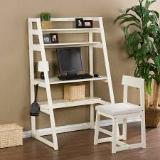 white stained wooden short ladder bookcase with 4 tier shelf and