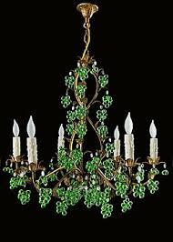 Tole Chandelier Italian Gilt Tole Chandelier With Green Glass Chandelier