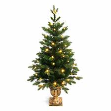 backyard 4ft potted pre lit pe artificial tree outdoor