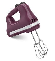 minimalist kitchen with purple burgundy kitchen aid hand mixer