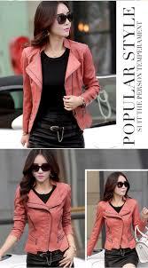 motor leather jacket aliexpress com buy leather jacket women slim short design