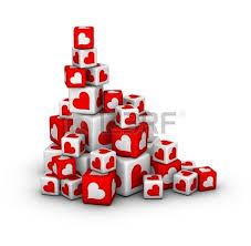 valentines sales stack of boxes with percent sign sales or finance concept stock