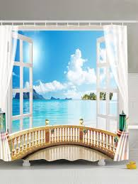 Curtain With Hooks 2018 Window Seascape Design Shower Curtain With Hooks Light Blue
