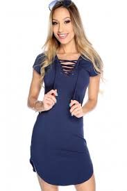 navy strappy chest short sleeve casual dress