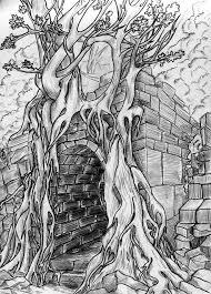 secret passage pencil sketch stock photography image 16780282