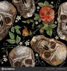 embroidery skull roses seamless pattern romanntic