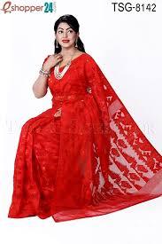 bangladeshi jamdani saree collection tangail moslin silk jamdani saree tsg 8142 online shopping in