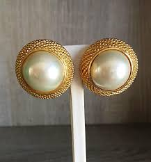 90 s earrings vintage christian 1990s signed large pearl gold dome clip on