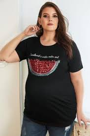 bump it it up maternity black sequin i swallowed a watermelon seed top